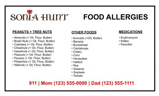 Allergy Card Front